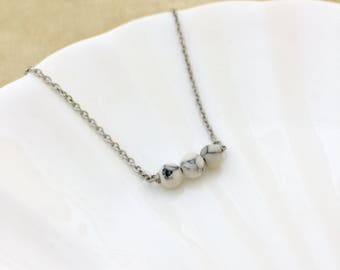 Wish Bar Necklace, Howlite Stone Necklace, Friendship Necklace, Handmade Jewelry, Bridesmaid Gift, Gift for Her, Stainless Steel Chain