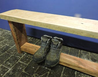 Wooden Bench Seat Reclaimed Wood Solid Brazilian Plank Chair Dining Rustic Farmhouse