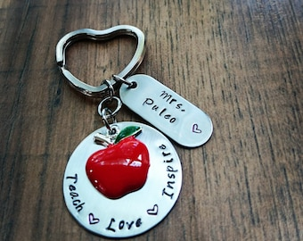 Hand Stamped Personalized Teacher Keychain - Teacher Gift - Teach Love Inspire Keychain - Personalized Teacher Gift - Teach Gifts