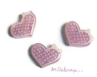 Set of 3 hearts with polka dots purple resin embellishment scrapbooking *.