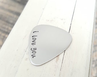 guitar pick handstamped stainless steel  22 guage gift for him I love you customize your own anniversary birthday gift