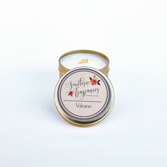 Volcano Soy Candle | Travel Candle | Wood Wick Candle | All Natural Soy | Eco Friendly | Home Decor | Anthropology Type Candle |Gift for Her