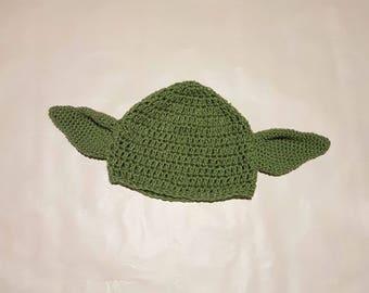 Handmade Crochet Yoda Hat for babies and children.