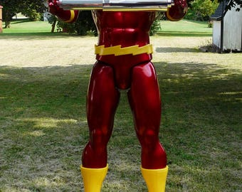 """The Flash Toilet Paper TP Holder !!! 18"""" Flash Figure with Wooden Base ~ Man Cave ~ Bathroom Decor ~ Justice League"""