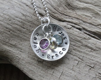 Personalized jewelry gift for mom, birthstone pendant necklace, mommy necklace, kids name necklace, grandma gift, stamped sterling necklace