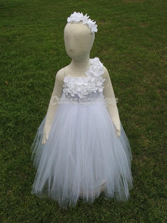 White Flower Girl Tutu Dress Hydrangea Flowers Dress Wedding