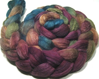 Polwarth & tussah silk roving 4.7 oz Spirit Dance - hand dyed wool combed top spinning and felting fiber - painted teal orange green purple
