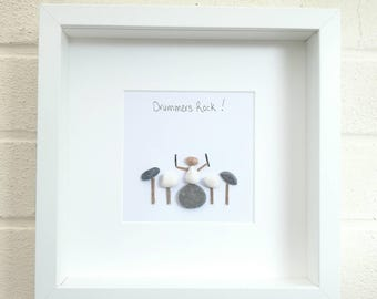 Pebble Picture, pebble art,   drummer gift,  rock and roll, unusual gift idea, gift for him, Birthday gift, Father's Day, home decor
