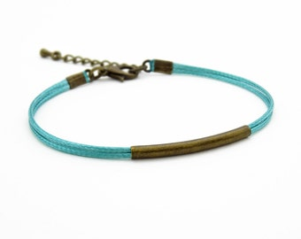 Antique Bronze Tube Bracelet, Aqua Blue Bracelet, Waxed Cord Bracelet, Friendship Bracelet, Minimalist Bracelet, Dainty Bracelet