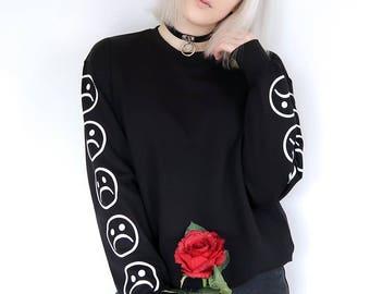 Sad Faces Emoticon Sleeves Printed Keyboard Sweatshirt Sweater Black White Tumblr Inspired Aesthetic Sad Boys Pale Pastel Grunge Aesthetics