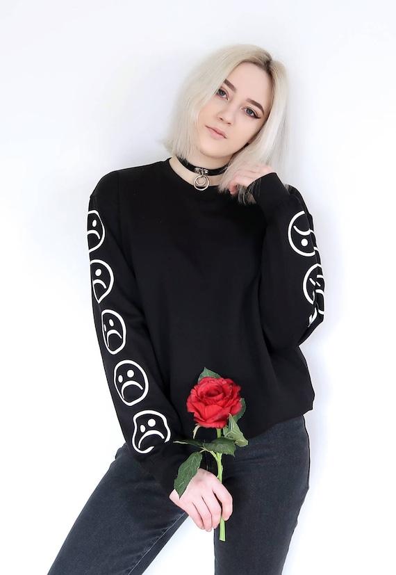 Sad Faces Emoticon Sleeves Printed Keyboard Sweatshirt Sweater