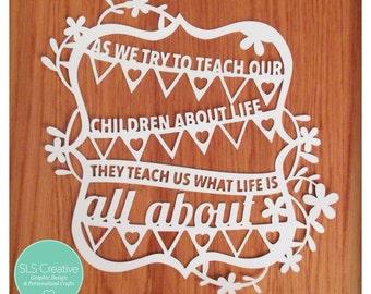 Bunting & Flowers Children Quote Paper Cut / Papercut Template DIGITAL DOWNLOAD SLS Creative