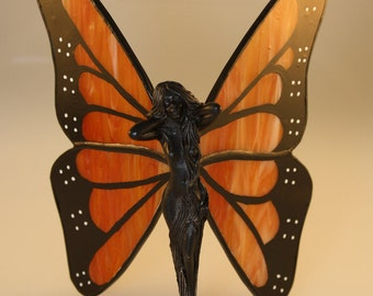 Monarch Butterfly Figurine Hand-Painted Stained Glass Fairy - Made to Order (MON006)