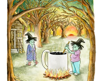 """Signed print of my cartoon """"Witches' Brew"""""""