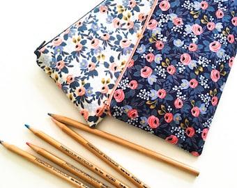 Pencil Case, School Supplies, Pencil Pouch, Zipper Pouch, Blue Floral, Purse Organizer, Rifle Paper Co, Gift for Women, Kids, Teens, Her