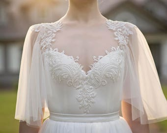 Grace - flutter sleeve bridal top / bridal bodysuit / ivory wedding top / bridal separates / flutter sleeves top / open back bridal top