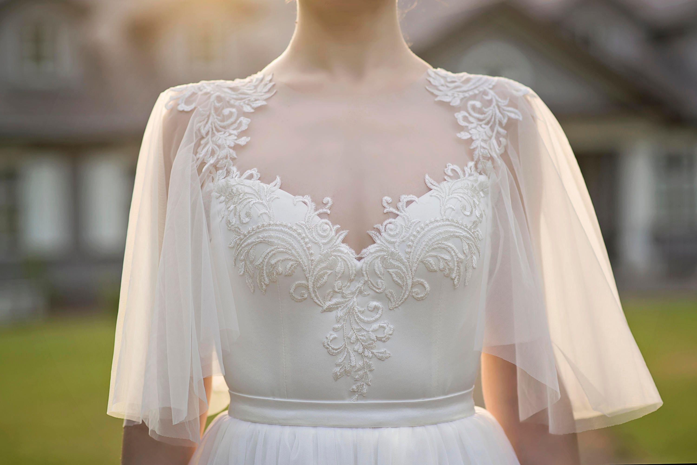 Grace Flutter Sleeve Bridal Top Bridal Bodysuit Ivory - Flutter Sleeve Wedding Dress