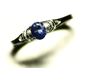 Blue Tanzanite Ring Size 6.5 (0.41 ct) Purple Tanzanite Womens Ring Sterling Silver, Tanzanite Solitaire Ring 6 1/2 Simple Tanzanite Jewelry
