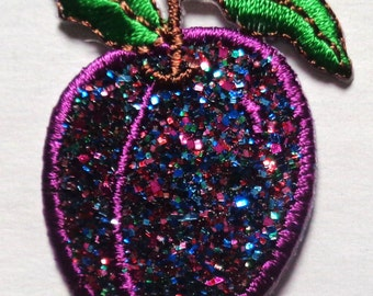 Embroidered Iron-On Applique Sparkle Plum, 1 x 1+1/2 inch