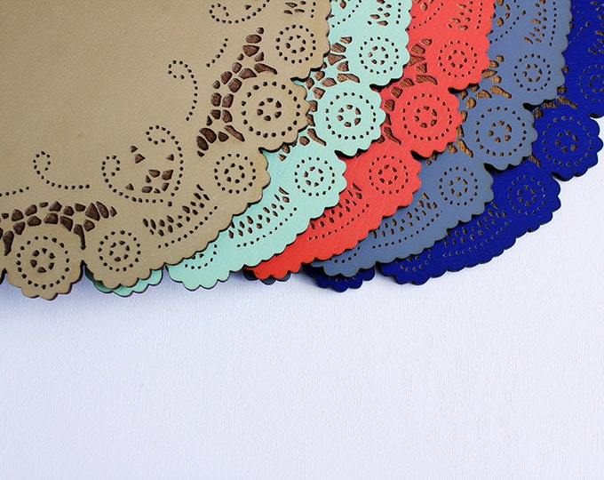 wood doily - spring decor - mint coral gold cobalt aqua- 10 dollar gift - you pick the color