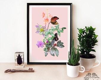 Original floral collage - digital print