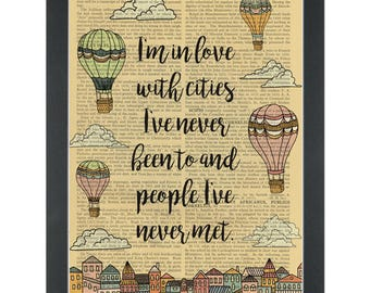 Travel quote Hot Air Balloons In Love Dictionary Art Print