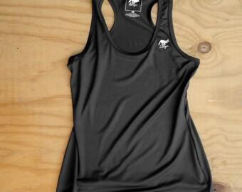 Runyon Women's Black Elastic Yoga Tank Made In USA