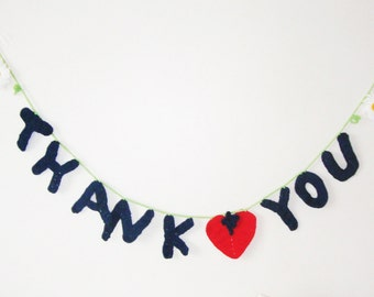 Thank You Banner with daisy red heart spring teal wedding thank you banner teal decor hand crochet thank you gift