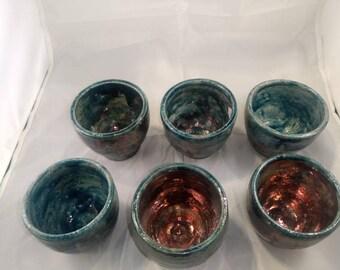 Set  of six  handmade Raku pottery cups