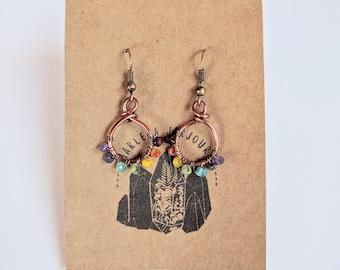 rainbow reset hoops, small size, copper hoops, handmade earrings, handmade jewelry, hoop earrings, wholesale earrings, gemstone earrings