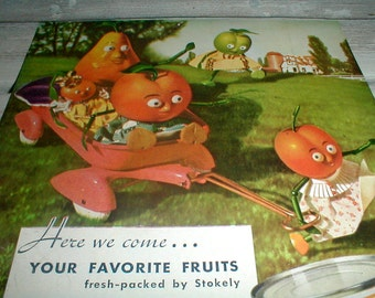 Whimsical Stokely's Ad *Fruit & Veggies Playing* 1937 *Fun Kitchen Art* Frameable!