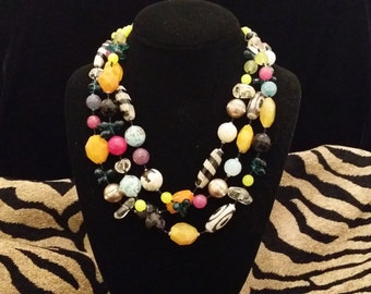 Colorful 3 Strand Multi Color Semi Precious Stone Necklace