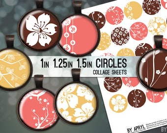 Cherry Blossoms Coral Yellow Flowers 1 inch 1.25 and 1.5 Circle Collage Sheet for Glass and Resin Pendants Bottle Cap Digital Download JPG