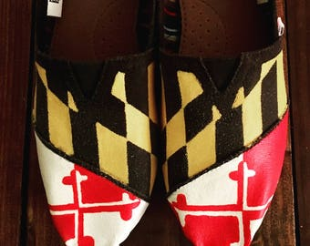 Hand Painted College Shoes - Maryland Flag