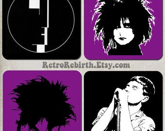 Goth New Wave Drink Coaster Set - Alternative Rock Music Gift - Great For Housewarming, Bar & Coffee Table Display - Set Of 4