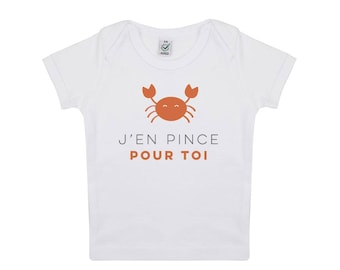 Baby tshirt small crab in organic cotton