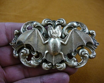 little baby vampire Bat love flying wings winged lucky night bats on scrolled repro Victorian brass pin pendant B-Bat-2