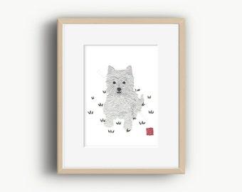 Westie Art, West Highland Terrier, Westie Dog, Westie Gift, Ready to Frame