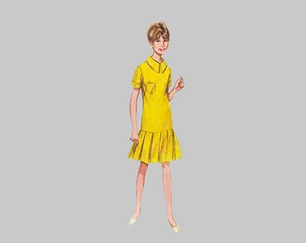 1968 dress pattern Butterick 4303, Size 14, Bust 34 in.  UNCUT, hip lenth bodice, Pleated skirt, Short sleeve or sleeveless