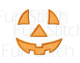 Pumpkin jack o lantern applique machine embroidery design