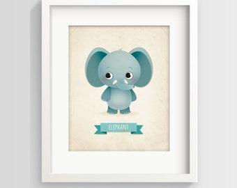 Elephant art print, kid's room decor, new baby gift, elephant, elephant print, kids wall art, baby elephant, baby boy, nursery wall decor