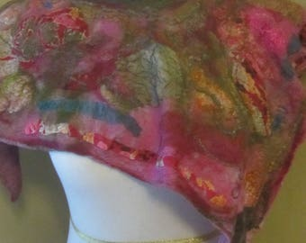 Pink and green nuno felted silk poncho