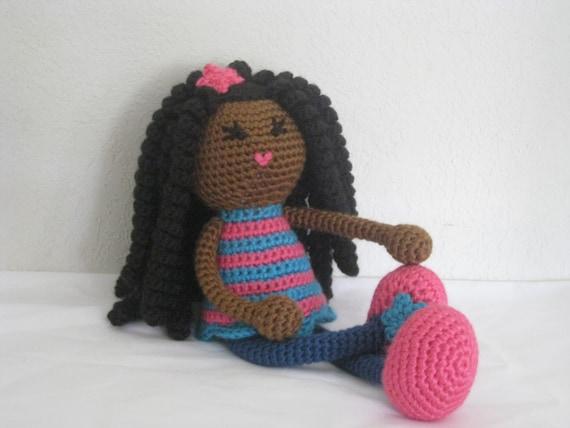 Amigurumi Hair Tutorial : Crochet pattern african curly haired doll plush amigurumi