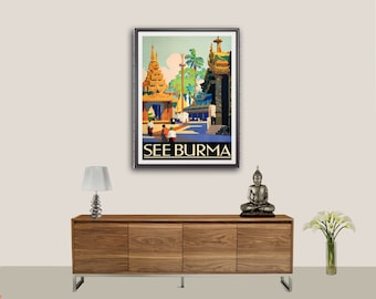 See Burma Vintage Travel Poster, 1930s - Poster Print, Sticker or Canvas Print / Gift Idea