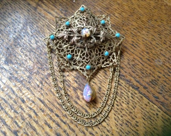 Opal and Turquoise Filligree Pin