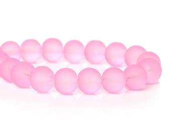 set of 10 pink frosted 11 mm glass beads