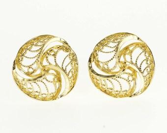 14k Interlocking Round Milgrain Filigree Post Back Earrings Gold