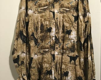 Dog and duck button up shirt.