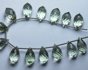 4 Match Pair, Super Rare, AAA Green Amethyst Faceted Dew Drops Briolettes, Calibrated Size, 14x8mm