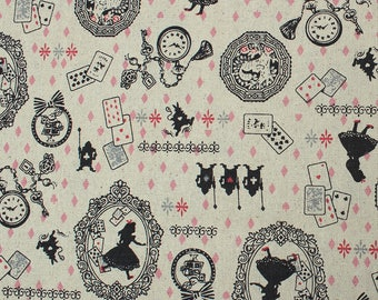 Coupon 45 x 150 cm fabric cotton and linen - Alice and the White Rabbit